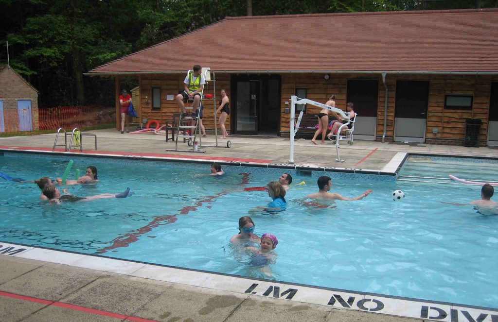 Campers in the swimming Pool